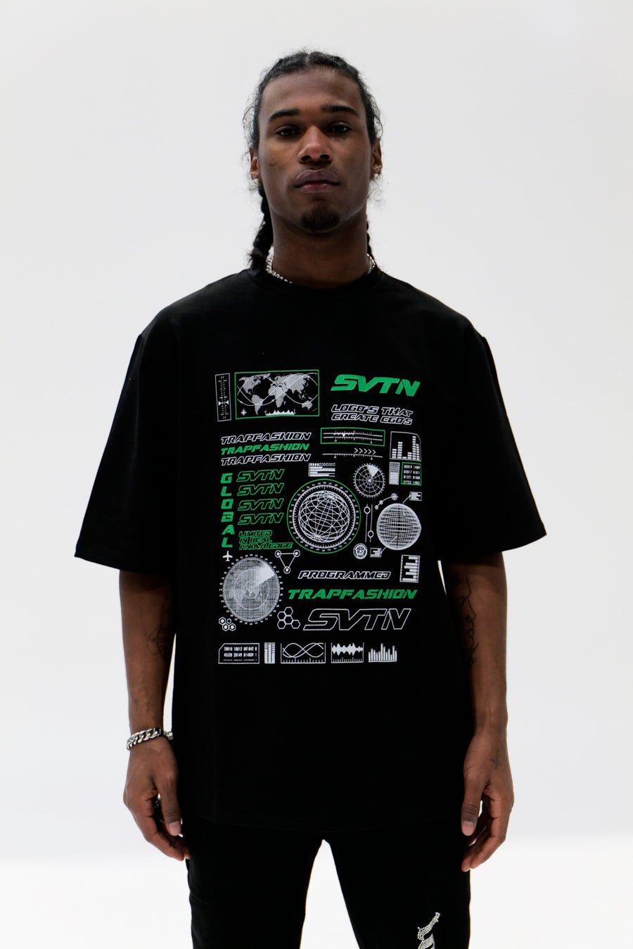 Black Trapfashion T-Shirt with green print