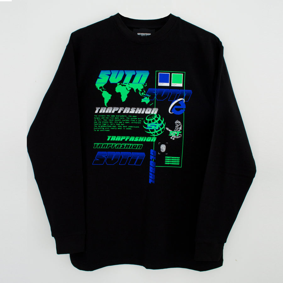 Black Trapfashion printed long sleeve