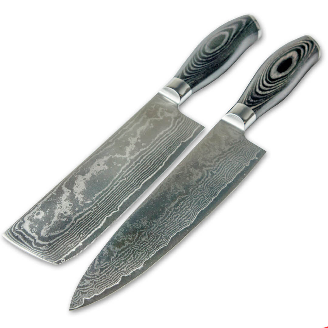 Damascus Steel Chef Knife And Cleaver Set ...