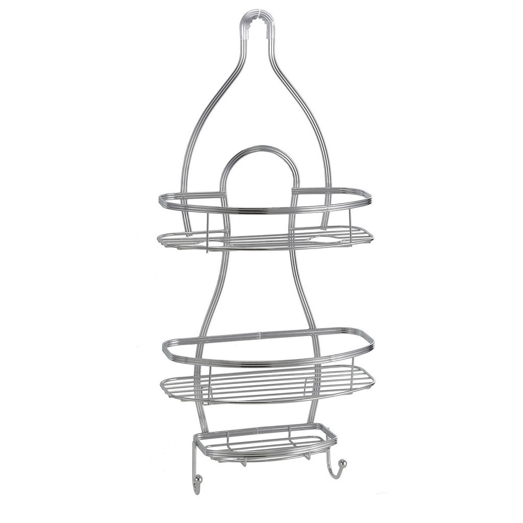 Bath Bliss Triple Wire Shower Caddy In Glossy Chrome