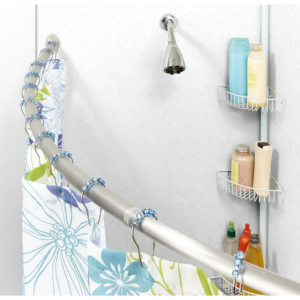 Bath Bliss Curved Tension Shower Rod in Stainless Steel – SPACE WITH ...