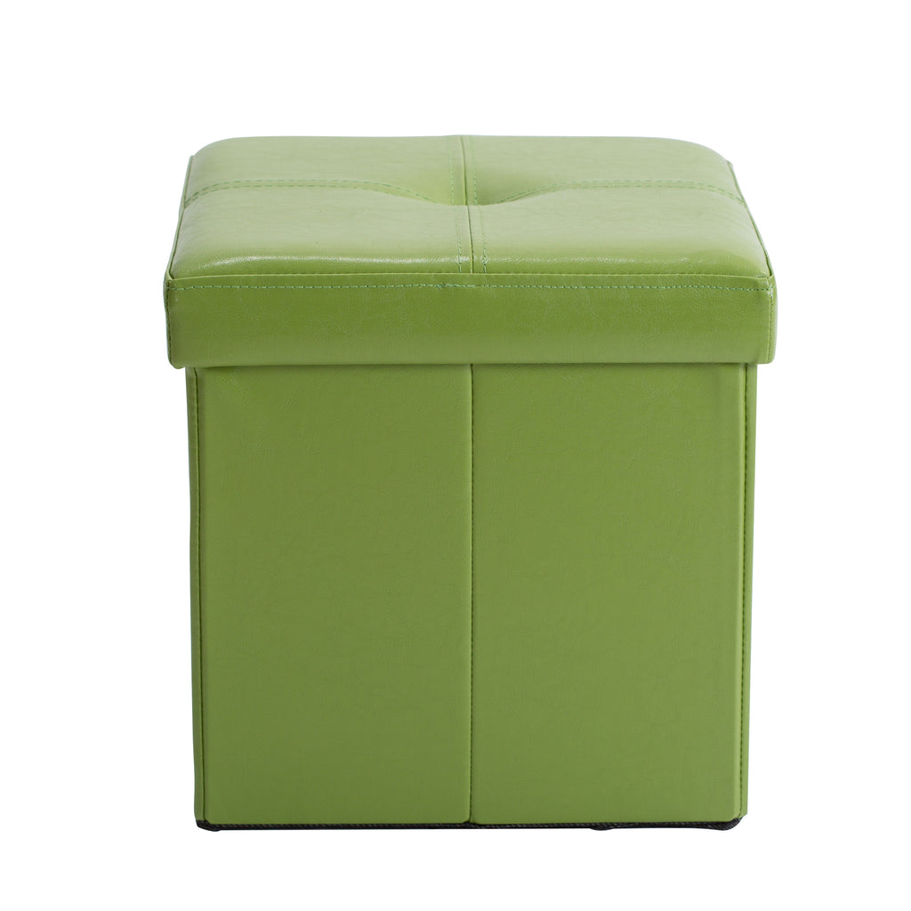 simplify faux leather folding storage ottoman cube in lime - Storage Ottoman Cube