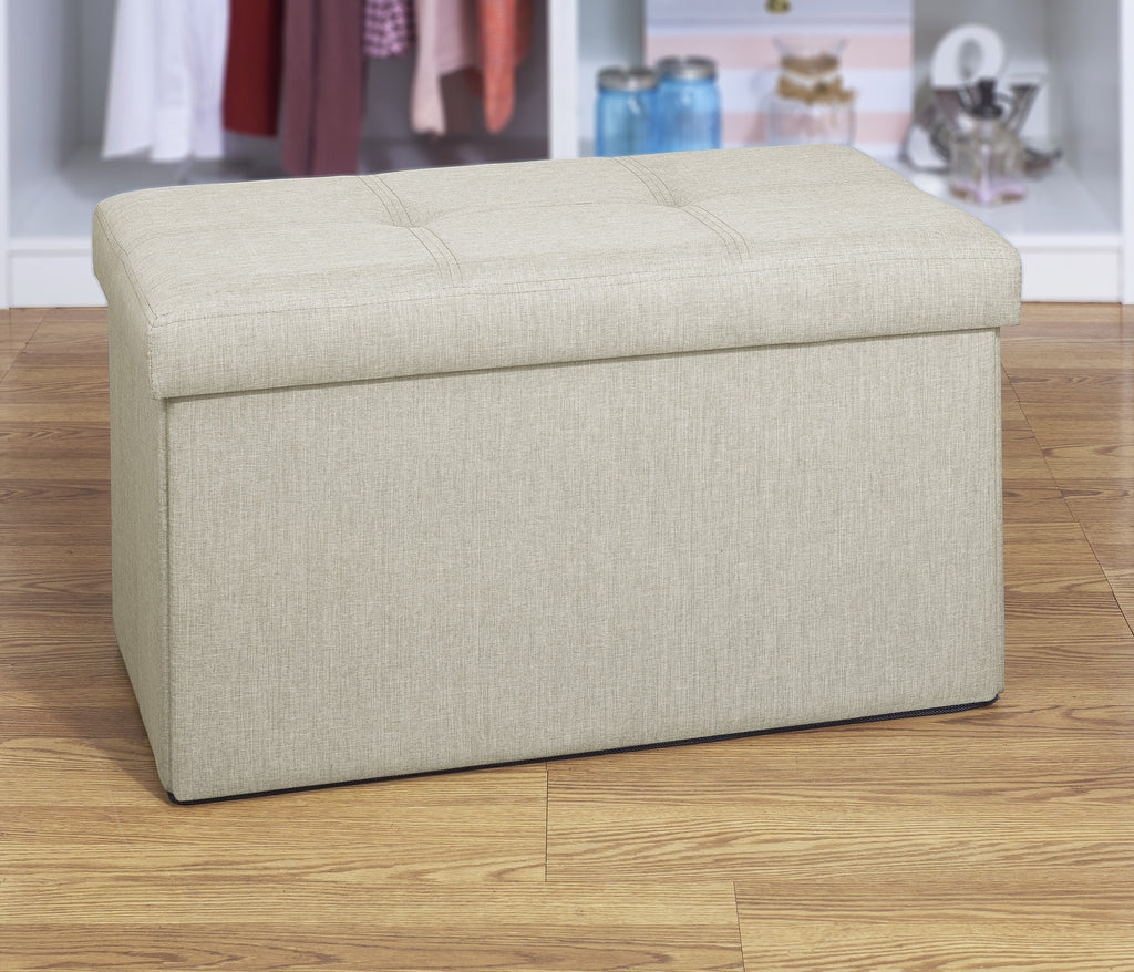 Charming Simplify Faux Linen Double Folding Storage Ottoman In Ivory