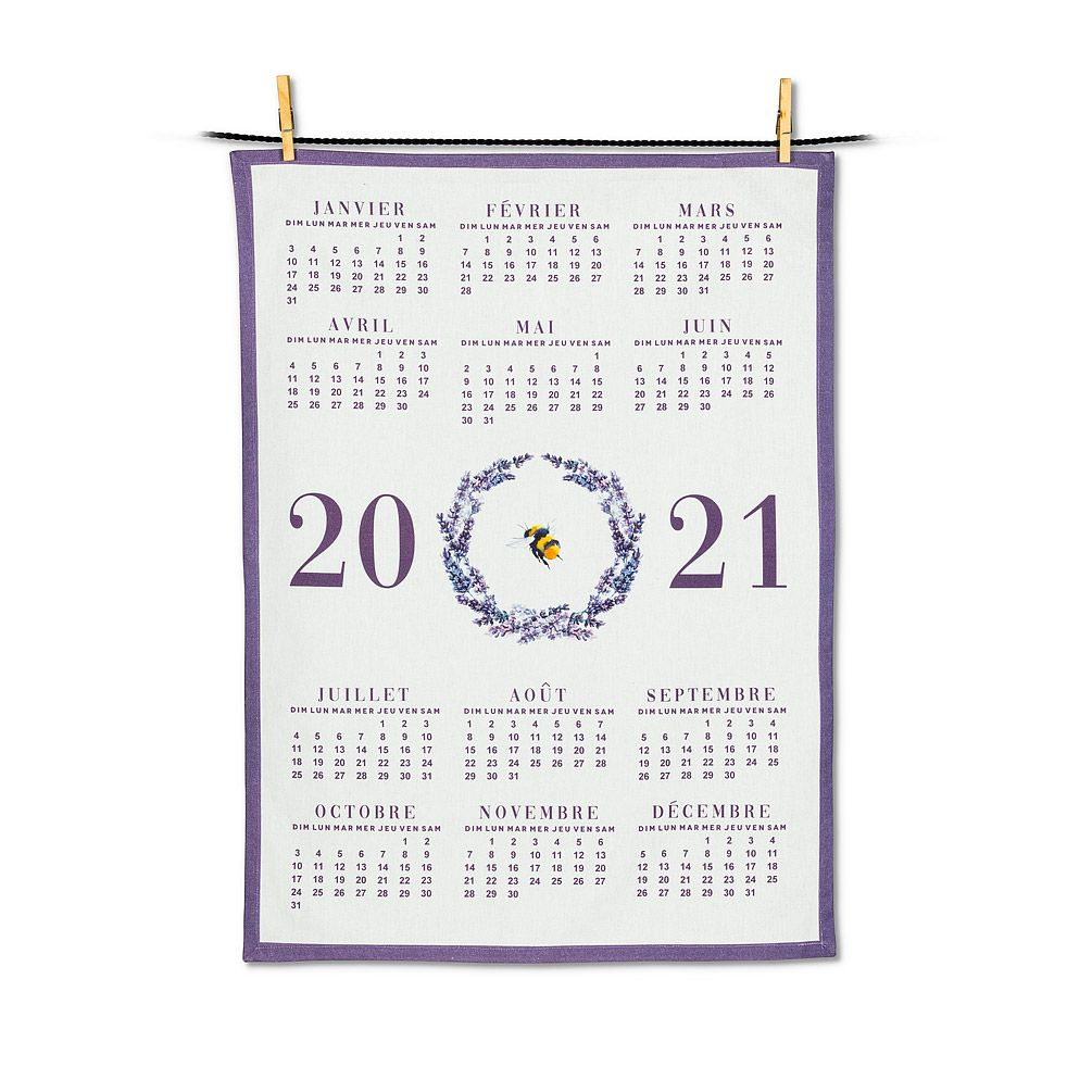 Lavender Bee Calendar Tea Towel