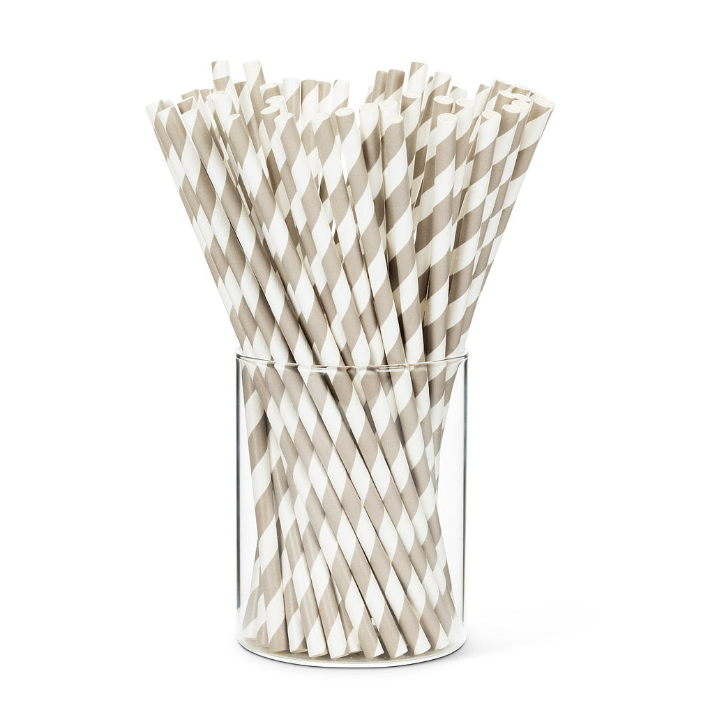Paper Straws, Grey Striped