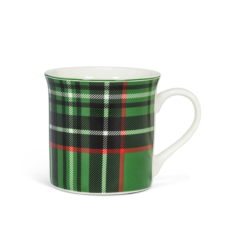 Green Plaid Mug, 12oz
