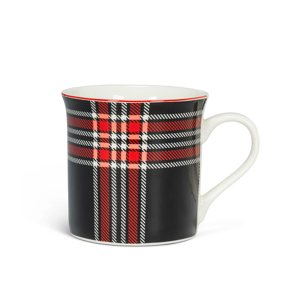 Black & Red Plaid Mug, 12oz