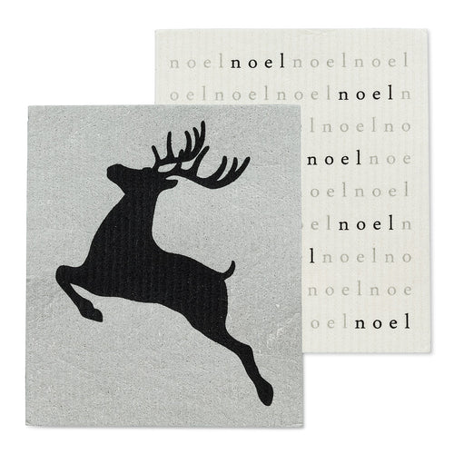 Noel Reindeer Dishcloths, Set of 2
