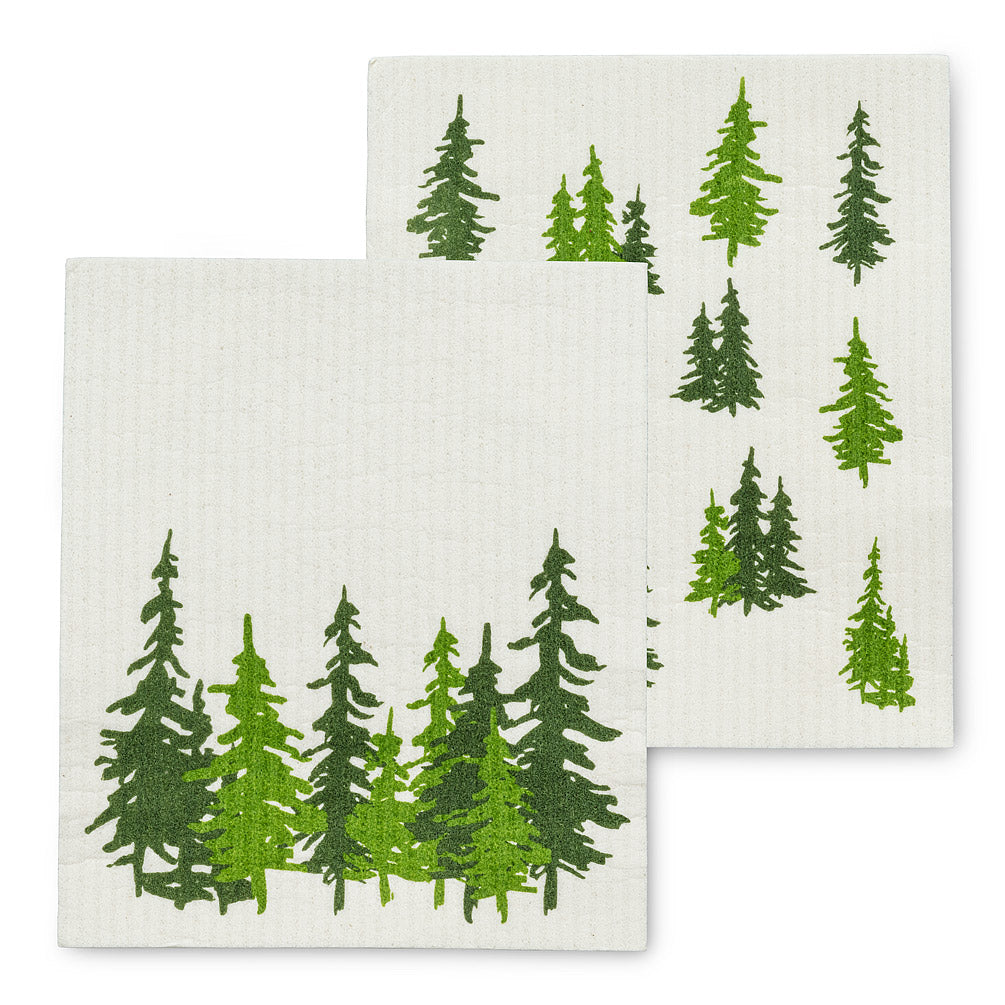 Evergreen Forest Dishcloths, Set of 2