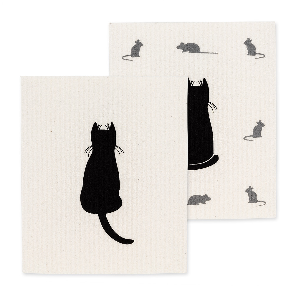 Swedish Cloths - Cat & Mouse, Set of 2