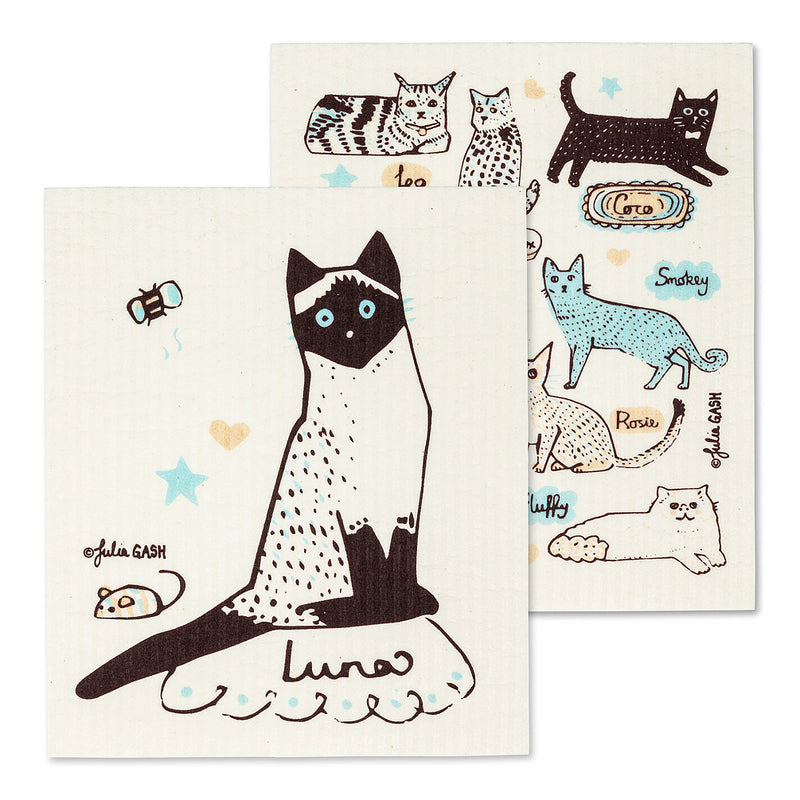 Swedish Cloths - Cats with Names, Set of 2