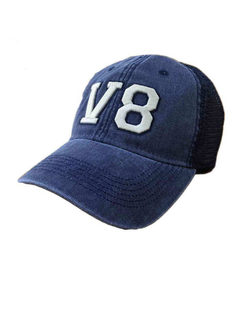 V8 Distressed Navy Cap