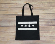 White Chicago Flag Tote Bag