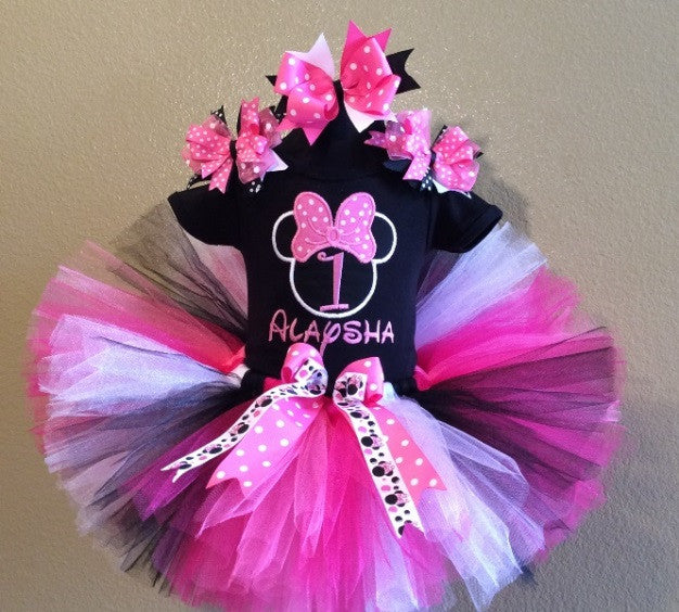 Girls Black Hot Pink Minnie Mouse 1st Birthday Tutu Outfit