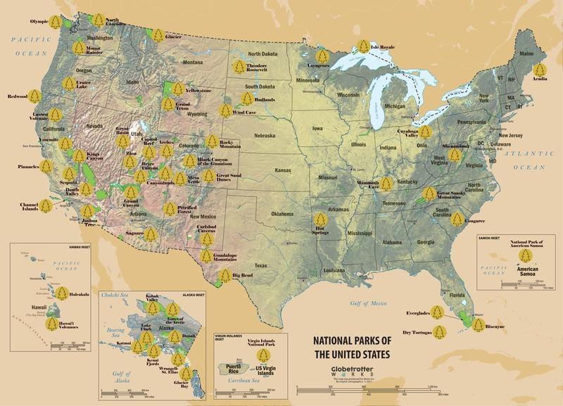 US National Parks Scratchable Map (2020 EDITION - All 61 DESIGNATED PARKS)