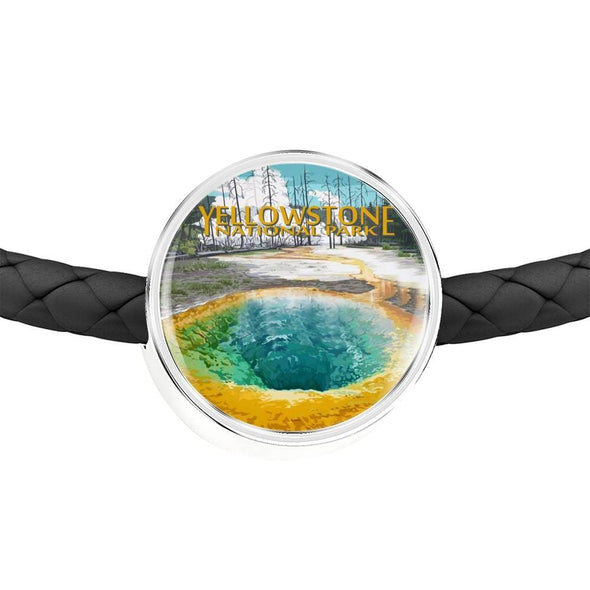 US NATIONAL PARKS LEATHER CHARM BRACELET - YELLOWSTONE NATIONAL PARK