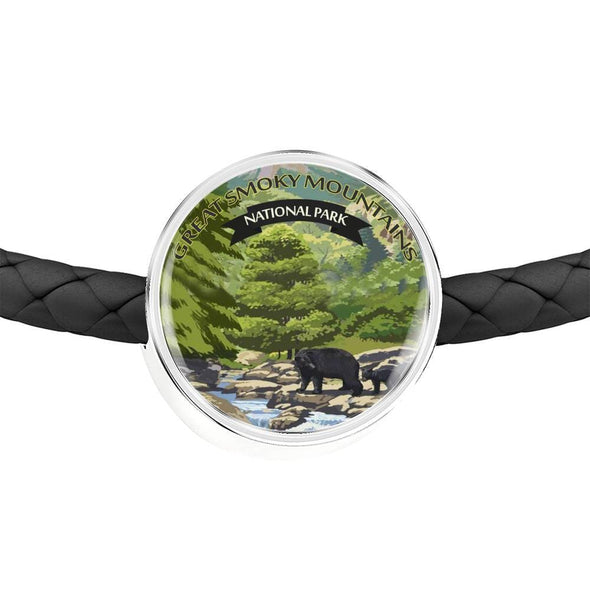 US National Parks Leather Charm Bracelet - Great Smoky Mountains National Park