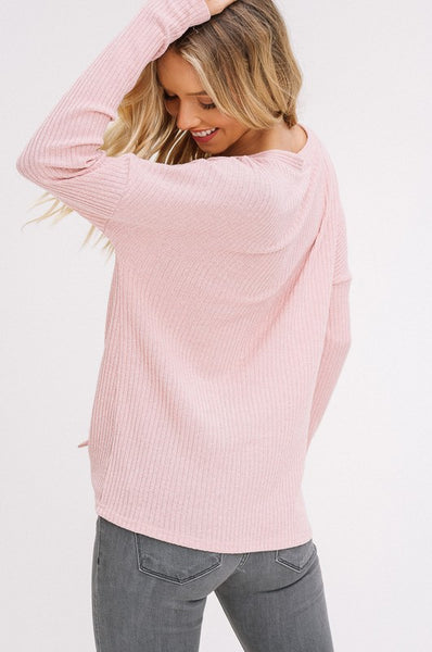 Elisa Ribbed Tie Front Top in Blush