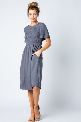 York Shirred Top Dress in Charcoal