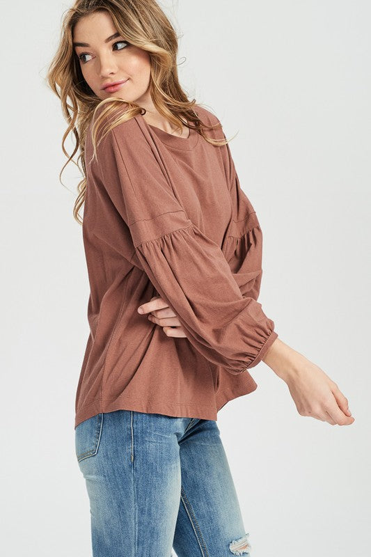 Leo Bubble Sleeve Top in Burl Wood