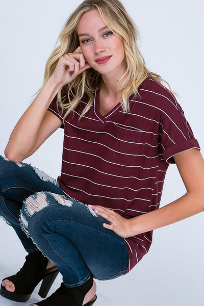 Jane Stripe V Neck in Burgundy