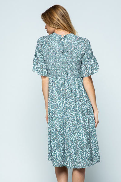 Jada Dress with Smocked Top in Sage