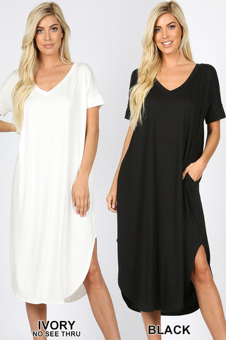 Adele V Neck Summer Dress in Black