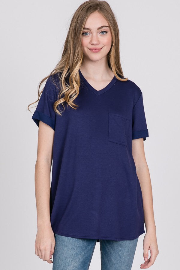 Rosa French Terry V Neck in Navy