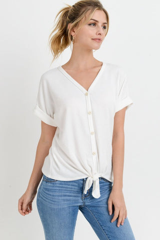 Brittany Tie Front V Neck in Ivory