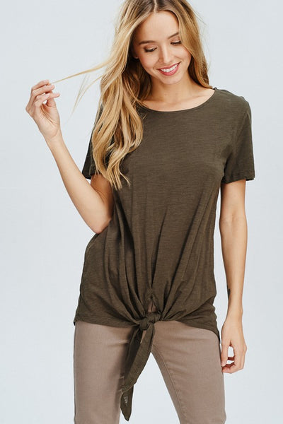 Breanna Tie Front Top in Olive