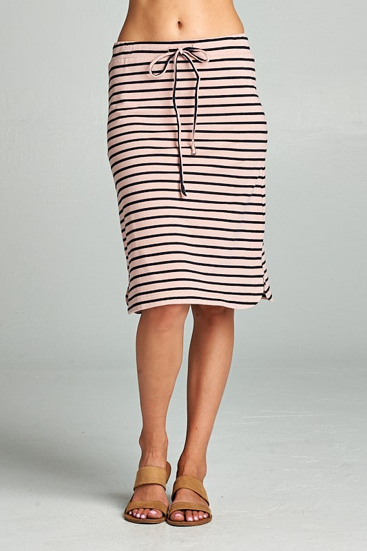 Rachel Stripe Skirt in Mauve/Navy