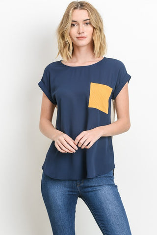 April Color Block Tee Navy