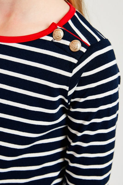 Ellen Stripe 3/4 Sleeve Top in Navy