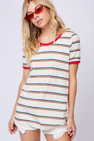 McKinley Stripe Tee in Red