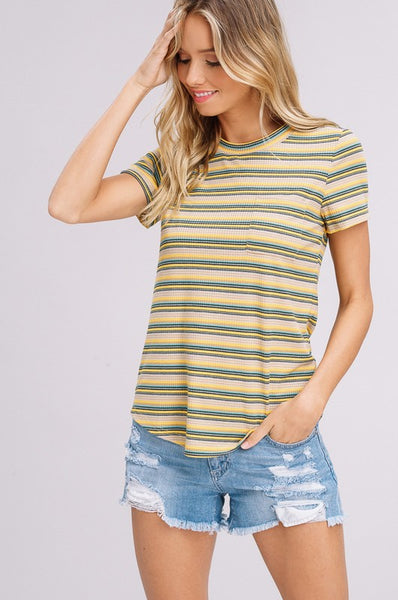 Melody Ribbed Stripe Top in Mustard