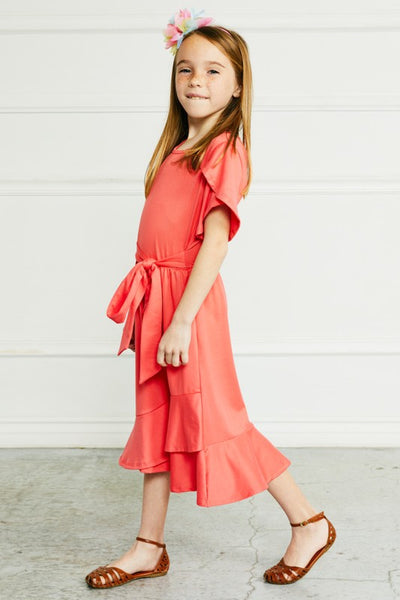 Elsie Ruffled Wrap Dress in Coral