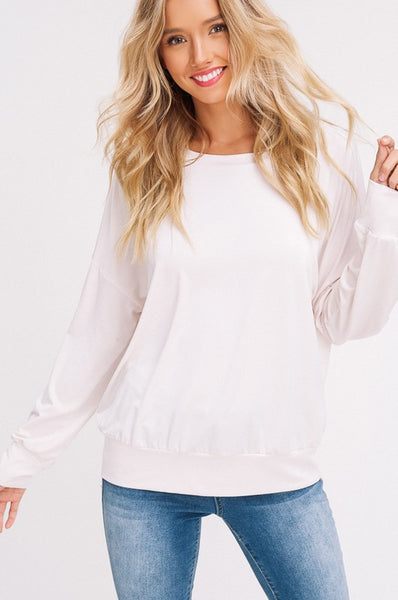 Isabelle Long Sleeve Top in Natural