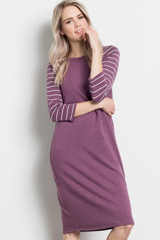Kenzie Striped Sleeve Tee Shirt Dress in Plum
