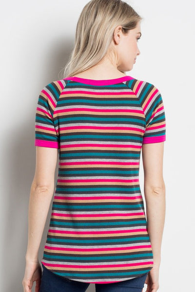 Sophie Ribbed Stripe Top in Fuchsia