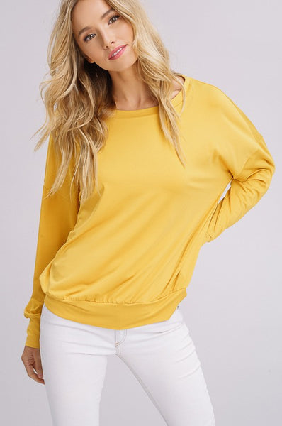 Isabelle Long Sleeve Top in Mustard