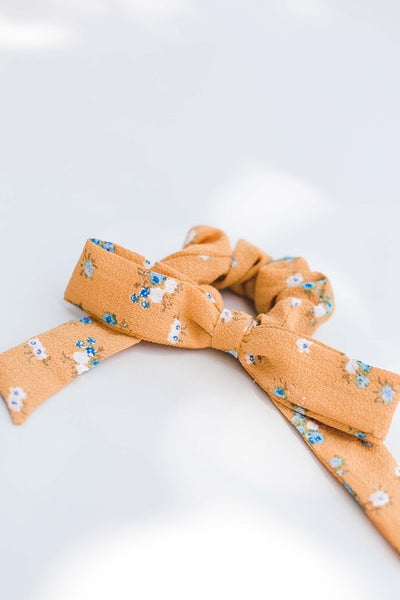 Yellow Floral Bow Scrunchie
