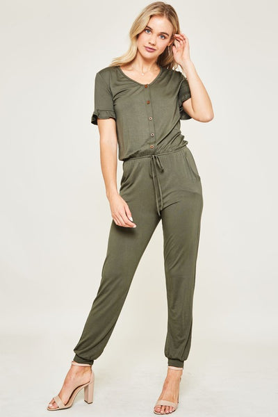 Kenna Ruffle Sleeve Jumper in Olive