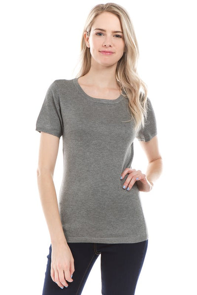 Kat Round Neck Lightweight Sweater in Heather Grey
