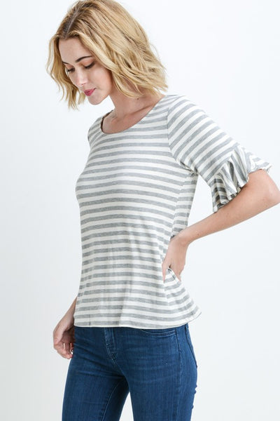 Penny Ruffle Sleeve Top in Grey Stripe