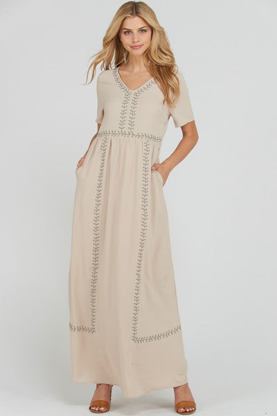 Brynn Embroidered Dress in Taupe