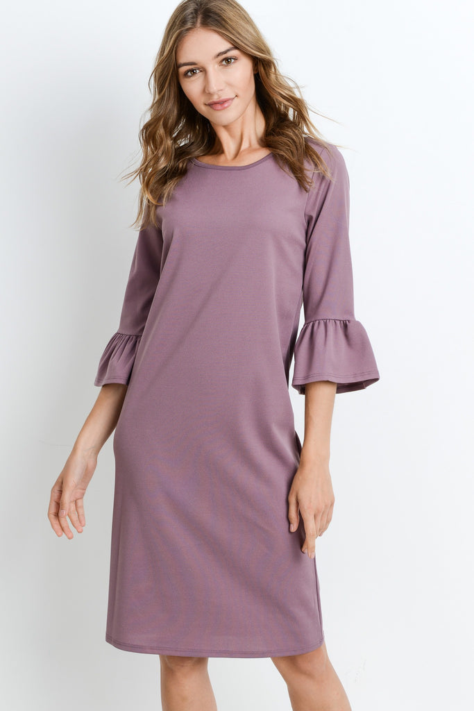 Vanessa Bell Sleeve Dress in Mauve