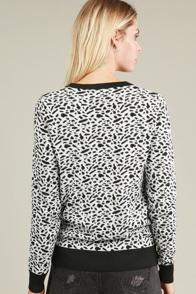 Leopard Print Sweater in Black