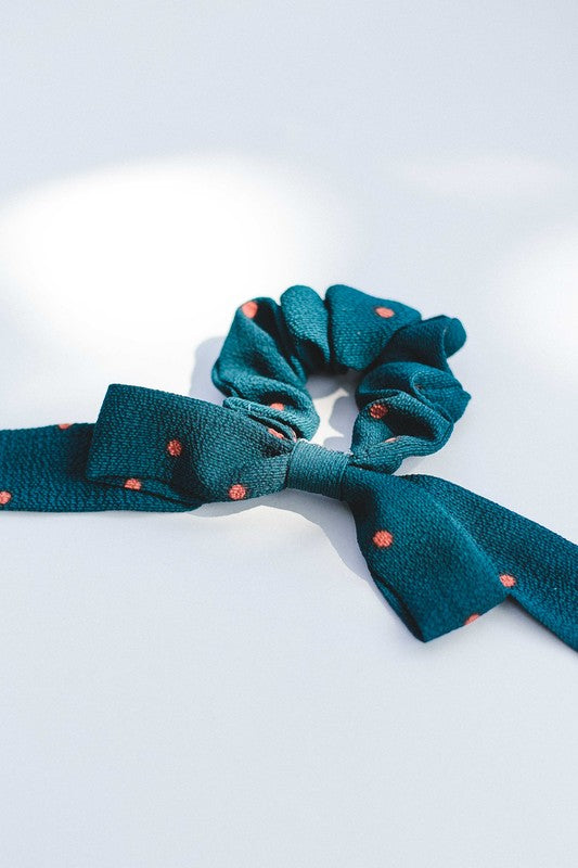 Green Dot Bow Scrunchie