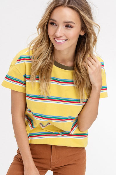 Sara Multi Stripe Tee in Mustard