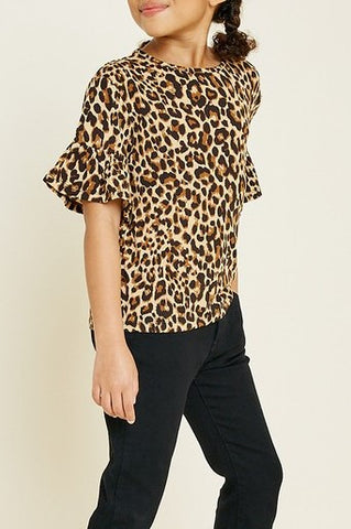 Girls Leopard Ruffle Sleeve Top